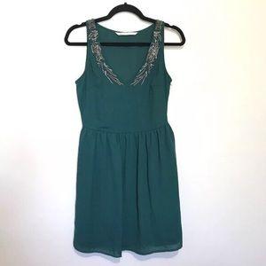 Zara Trafaluc Emerald Beaded Dress